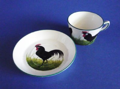 Wemyss Ware 'Black Leghorn Cockerel and Hens' Cup and Saucer c1900